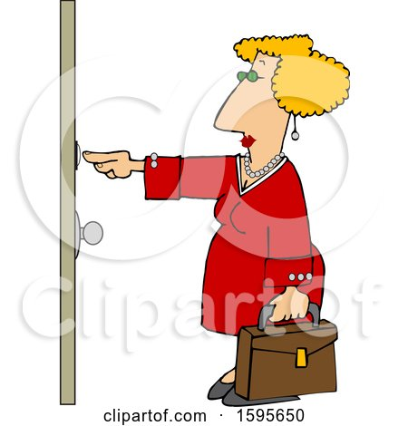Clipart of a Cartoon White Sales Woman Ringing a Door Bell - Royalty Free Vector Illustration by djart