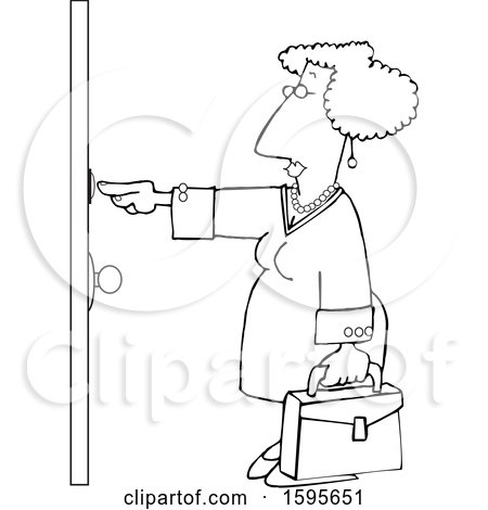 Clipart of a Cartoon Lineart Sales Woman Ringing a Door Bell - Royalty Free Vector Illustration by djart