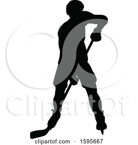 Clipart of a Silhouetted Male Ice Hockey Player - Royalty Free Vector Illustration by AtStockIllustration