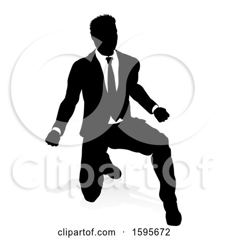 Clipart of a Silhouetted Business Man, with a Shadow on a White Background - Royalty Free Vector Illustration by AtStockIllustration