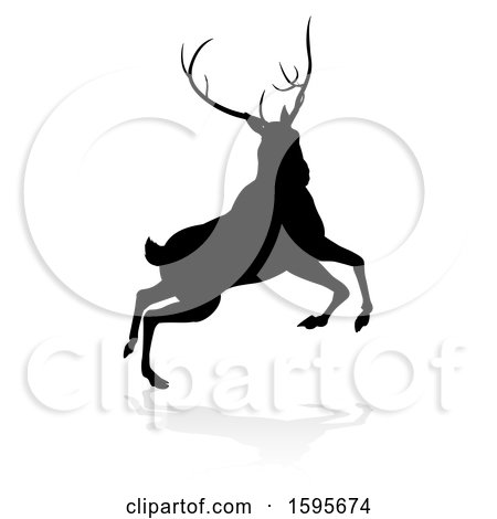 Clipart of a Black Silhouetted Deer Stag Buck, with a Shadow on a White Background - Royalty Free Vector Illustration by AtStockIllustration