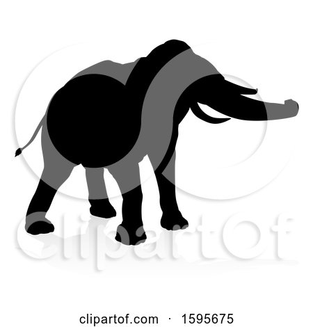 Clipart of a Silhouetted Elephant, with a Reflection, on a White Background - Royalty Free Vector Illustration by AtStockIllustration