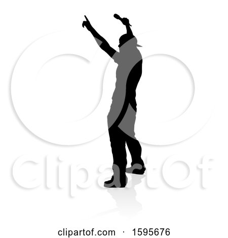 Clipart of a Silhouetted Male Singer, with a Reflection or Shadow, on a White Background - Royalty Free Vector Illustration by AtStockIllustration