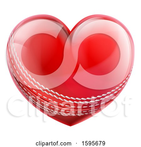Clipart of a Red Heart Shaped Cricket Ball - Royalty Free Vector Illustration by AtStockIllustration