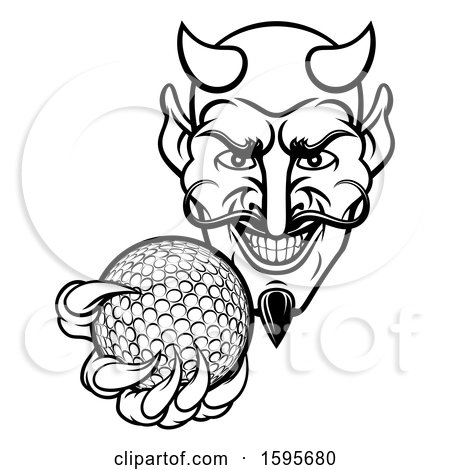 Clipart of a Black and White Grinning Evil Devil Holding out a Golf Ball in a Clawed Hand - Royalty Free Vector Illustration by AtStockIllustration