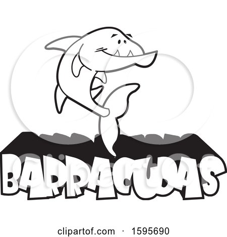 Clipart of a Black and White Barracuda Fish School Mascot over Text - Royalty Free Vector Illustration by Johnny Sajem