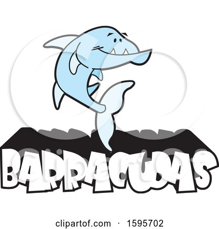 Clipart of a Blue Barracuda Fish School Mascot over Text - Royalty Free Vector Illustration by Johnny Sajem