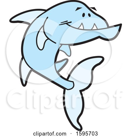 Clipart of a Blue Barracuda Fish School Mascot - Royalty Free Vector Illustration by Johnny Sajem