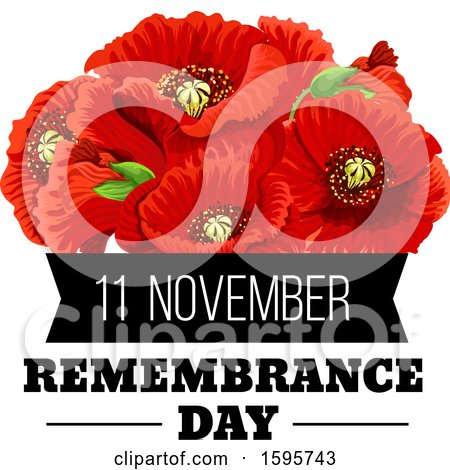 Clipart of a Red Poppy Flower Remembrance Day Design - Royalty Free Vector Illustration by Vector Tradition SM