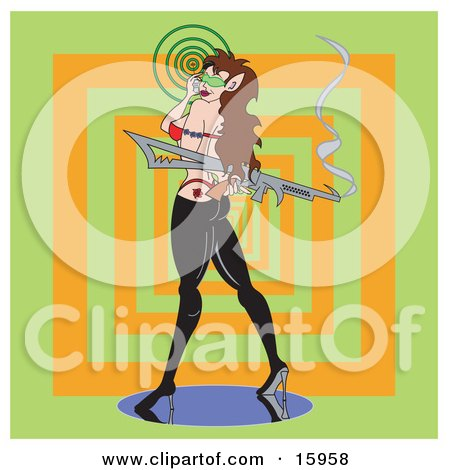 Sexy And Seductive Woman In Rubber Pants, Red Thong And Red Bra, Looking Back Over Her Shoulder While Talking On A Cell Phone And Carrying A Smoking Gun Clipart Illustration by Andy Nortnik