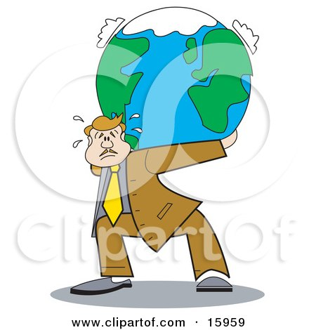 Overwhelmed Businessman Carrying The Weight Of The World On His Back Clipart Illustration by Andy Nortnik