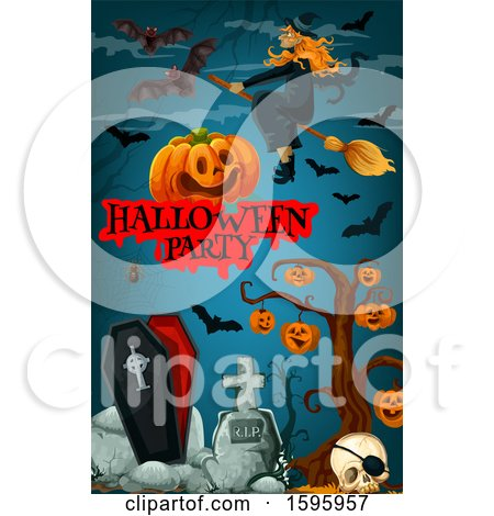 Clipart of a Halloween Party Background - Royalty Free Vector Illustration by Vector Tradition SM