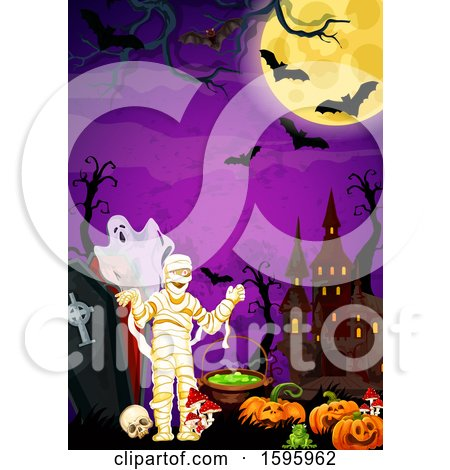 Clipart of a Halloween Background - Royalty Free Vector Illustration by Vector Tradition SM