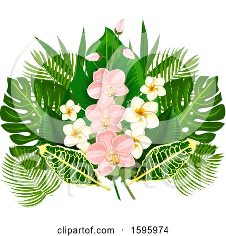 Clipart of a Tropical Flower Design - Royalty Free Vector Illustration by Vector Tradition SM