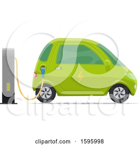 Clipart of a Charging Electric Car - Royalty Free Vector Illustration by Vector Tradition SM