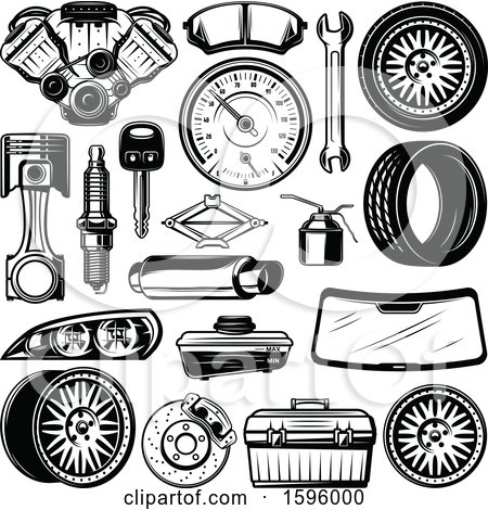 Clipart of Black and White Automotive Designs - Royalty Free Vector Illustration by Vector Tradition SM