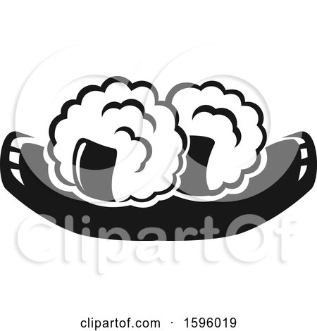Clipart of a Black and White Sushi Design - Royalty Free Vector Illustration by Vector Tradition SM