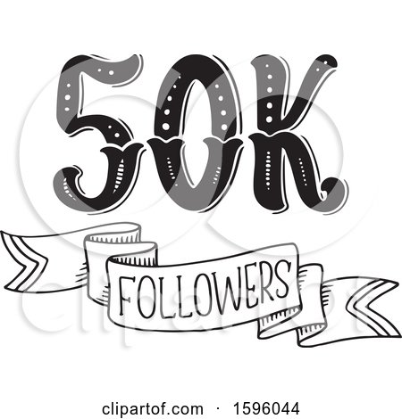 Clipart of a Black and White Social Media Followers Design - Royalty Free Vector Illustration by Vector Tradition SM