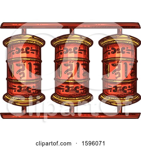 Clipart of a Prayer Wheel - Royalty Free Vector Illustration by Vector Tradition SM