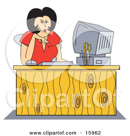 Black Haired Female Receptionist In A Red Shirt, Working At Her Computer Desk Clipart Illustration by Andy Nortnik