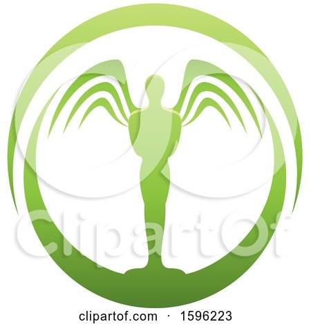 Clipart of a Green Male Angel Design - Royalty Free Vector Illustration by cidepix