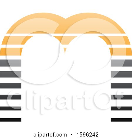90e231a8c09e5 Clipart of a Striped Gray and Orange Letter M Logo - Royalty Free Vector  Illustration by
