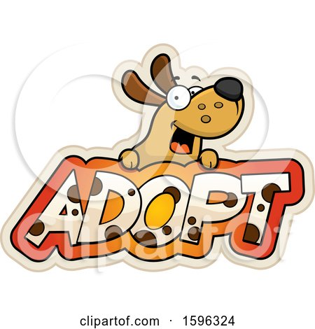 Clipart of a Cartoon Dog over Adopt Text - Royalty Free Vector Illustration by Cory Thoman