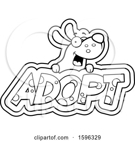 Clipart of a Cartoon Black and White Dog over Adopt Text - Royalty Free Vector Illustration by Cory Thoman