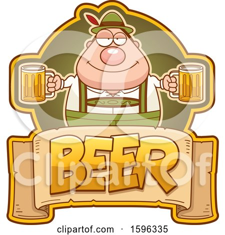 Clipart of a Chubby Oktoberfest Man Holding Beer Mugs over a Text Banner - Royalty Free Vector Illustration by Cory Thoman
