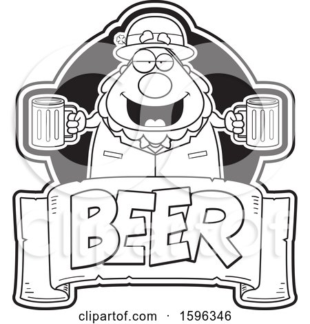 Clipart of a Black and White Chubby Leprechaun Holding Beer Mugs over a Text Banner - Royalty Free Vector Illustration by Cory Thoman