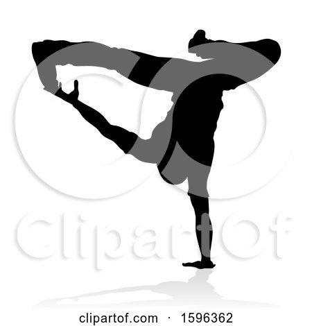 Clipart of a Silhouetted Male Hip Hop Dancer, with a Reflection or Shadow, on a White Background - Royalty Free Vector Illustration by AtStockIllustration