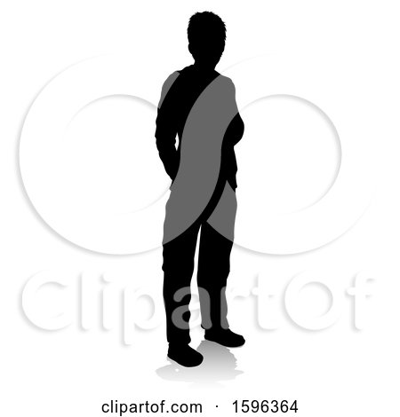 Clipart of a Silhouetted Teenager with a Reflection or Shadow, on a White Background - Royalty Free Vector Illustration by AtStockIllustration