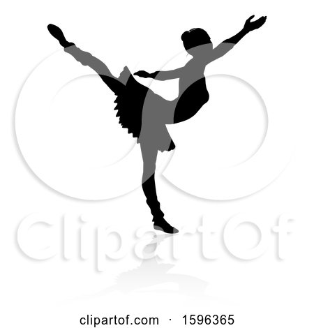 Clipart of a Silhouetted Ballerina Dancing, with a Reflection or Shadow, on a White Background - Royalty Free Vector Illustration by AtStockIllustration