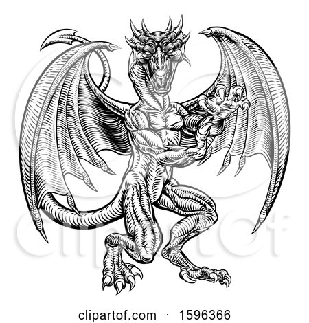 Clipart of a Black and White Woodcut Dragon - Royalty Free Vector Illustration by AtStockIllustration