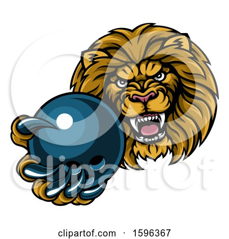 Clipart of a Tough Lion Monster Mascot Holding out a Bowling Ball in One Clawed Paw - Royalty Free Vector Illustration by AtStockIllustration