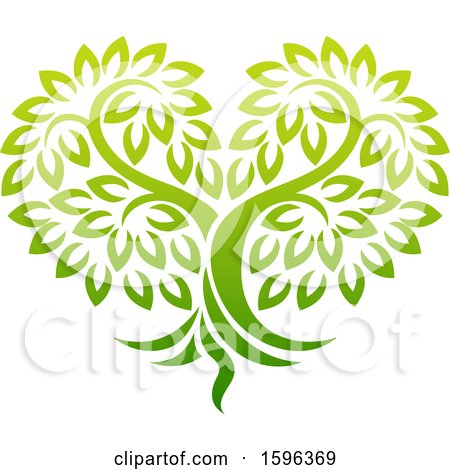 Clipart of a Gradient Green Heart Shaped Tree - Royalty Free Vector Illustration by AtStockIllustration