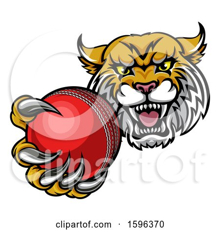 Clipart of a Tough Lynx Monster Mascot Holding out a Cricket Ball in One Clawed Paw - Royalty Free Vector Illustration by AtStockIllustration