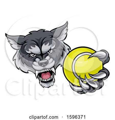 Clipart of a Tough Wolf Monster Mascot Holding out a Tennis Ball in One Clawed Paw - Royalty Free Vector Illustration by AtStockIllustration