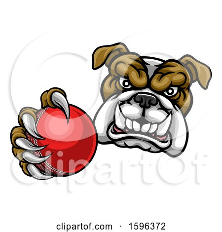 Clipart of a Tough Bulldog Monster Mascot Holding out a Cricket Ball in One Clawed Paw - Royalty Free Vector Illustration by AtStockIllustration