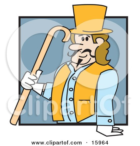 Clipart Illustration of a Victorian Man In A Tophat, Vest, Jacket And Gloves, Carrying A Cane by Andy Nortnik