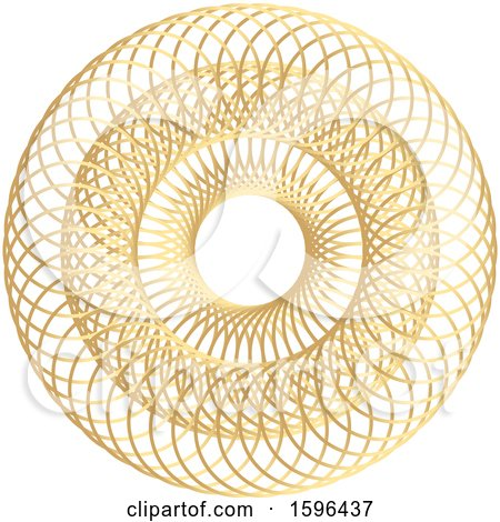 Clipart of a Golden Geometric Circle Doodle Roulette - Royalty Free Vector Illustration by KJ Pargeter