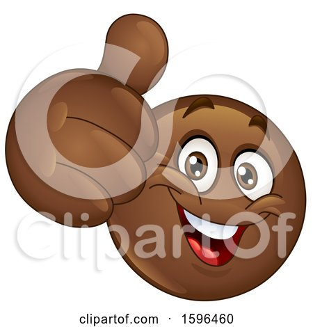 Clipart of a Brown Emoji Emoticon Giving a Thumb up - Royalty Free Vector Illustration by yayayoyo