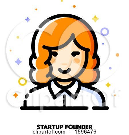 Clipart of a Female Startup Founder Icon - Royalty Free Vector Illustration by elena
