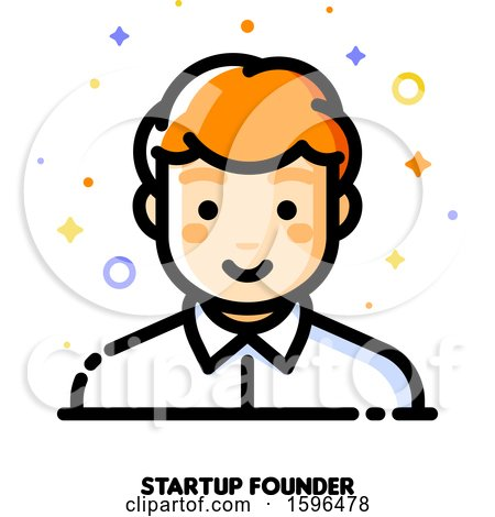 Clipart of a Male Startup Founder Icon - Royalty Free Vector Illustration by elena