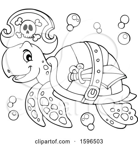 Clipart of a Lineart Pirate Sea Turtle - Royalty Free Vector Illustration by visekart