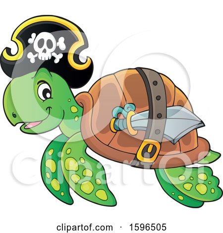 Clipart of a Pirate Sea Turtle - Royalty Free Vector Illustration by visekart