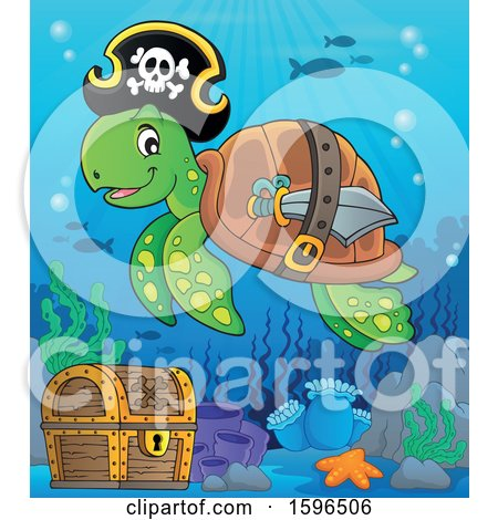 Clipart of a Pirate Sea Turtle over a Sunken Treasure Chest - Royalty Free Vector Illustration by visekart