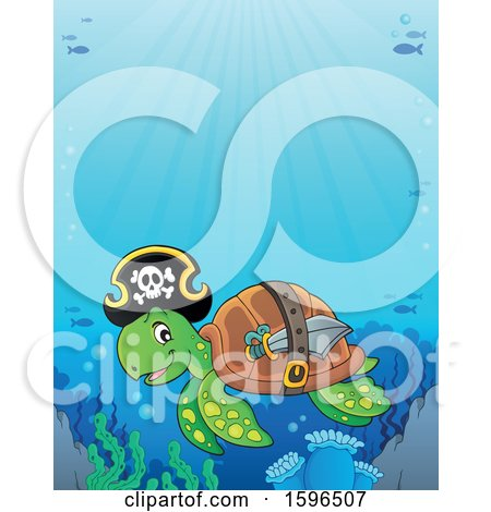 Clipart of a Pirate Sea Turtle Under Water - Royalty Free Vector Illustration by visekart