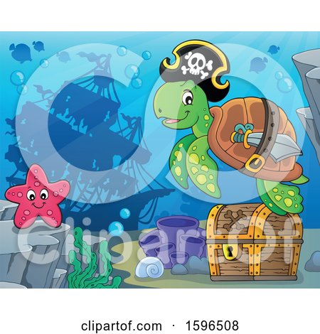 Clipart of a Pirate Sea Turtle over a Treasure Chest, with a Sunken Ship in the Background - Royalty Free Vector Illustration by visekart