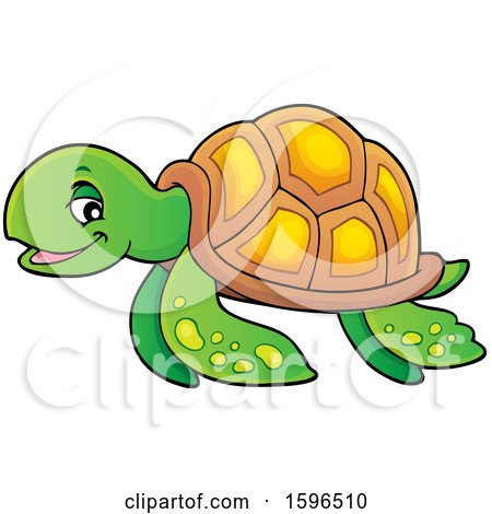 Clipart of a Sea Turtle - Royalty Free Vector Illustration by visekart